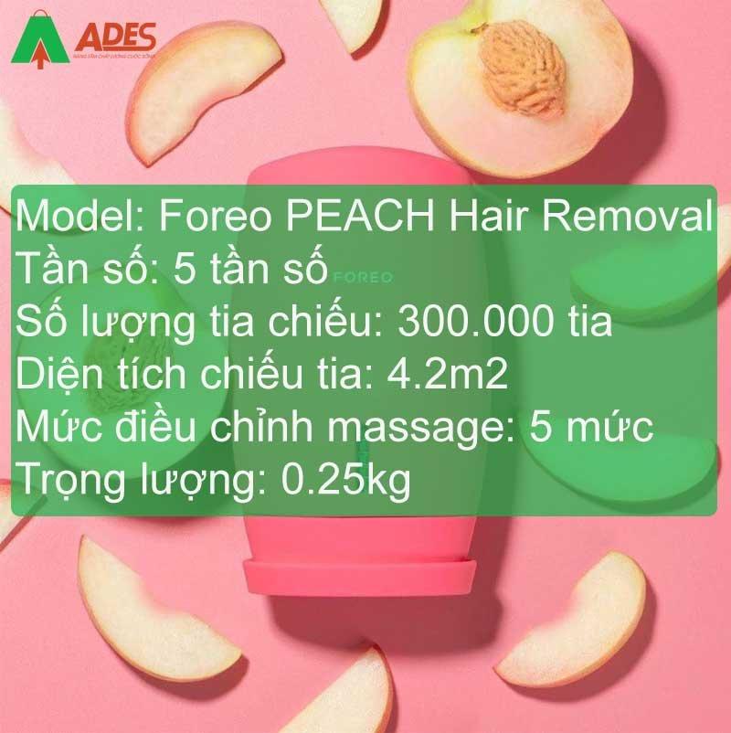 Thong so ky thuat cua may triet long Foreo PEACH Hair Removal song IPL